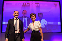 ©  London News Pictures. 17/09/2016. Bournemouth, UK. UKIP party leader DIANE JAMES and UKIP MP DOUGLAS CARSWELL on stage at Day  2 of the 2016 UKIP Autumn Conference, held at the Bournemouth International Centre in Bournemouth, Dorset. On Friday, the party elected Diane James as their new leader, following Nigel Farage resignation after the UK voted to leave the EU in a referendum..  Photo credit: Ben Cawthra/LNP