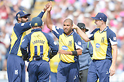 Birmingham Bears and Jeetan Patel celebrate a wicket during the NatWest T20 Blast semi final match between Northamptonshire County Cricket Club and Warwickshire County Cricket Club at Edgbaston, Birmingham, United Kingdom on 29 August 2015. Photo by David Vokes.