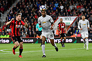 Ryan Fraser (24) of AFC Bournemouth and Marcus Rashford (19) of Manchester United battles for possession during the Premier League match between Bournemouth and Manchester United at the Vitality Stadium, Bournemouth, England on 18 April 2018. Picture by Graham Hunt.