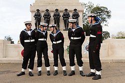 © Licensed to London News Pictures. 22/10/2017. LONDON, UK.  Sea cadets share a joke as they prepare to take part in the Trafalgar Day Parade. Four hundred sea cadets from across the UK march from Horse Guards Parade to Trafalgar Square to mark the 212th anniversary of the Battle of Trafalgar.  Photo credit: Vickie Flores/LNP