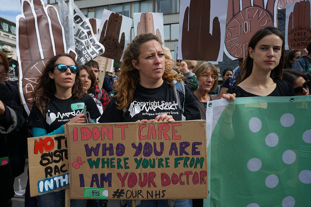 St Thomas' HospitalLondon, England, UK. 30th September 2017.  Docs Not Cops along with a coalition of anti-racism and pro-migrant organisations protest against government forceing Doctor and nurses to spy on Patients and demand to see #PatientsNotPassports, to stop scapegoating migrants, and to fully fund the NHS.