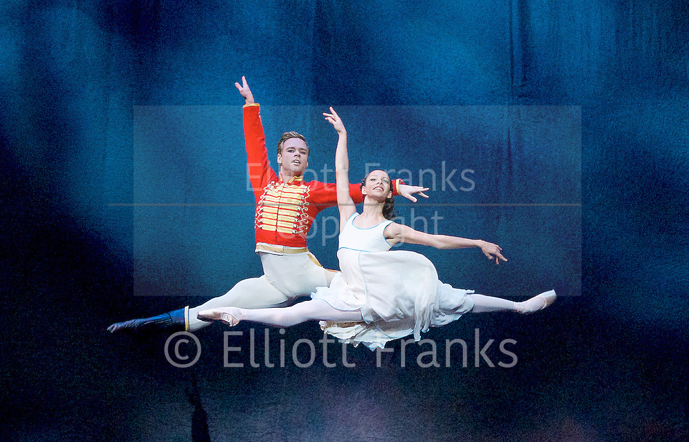 Francesca Hayward and Alexander Campbell both promoted to a Principal dancers in The Royal Ballet 10th June 2016 <br /> <br /> <br /> <br /> The Nutcracker<br /> <br /> Choreography by Peter Wright after Lev Ivanov<br /> Music by Tchaikovsky<br /> <br /> The Royal Ballet at the Royal Opera House, Covent Garden, London, Great Britain <br /> <br /> Pre-General Rehearsal <br /> <br /> 7 December 2015 <br /> <br /> <br /> <br /> Francesca Hayward as Clara  <br /> <br /> Alexander Campbell as Hans-Peter / The Nutcracker <br /> <br /> <br /> <br /> <br /> Photograph by Elliott Franks <br /> Image licensed to Elliott Franks Photography Services