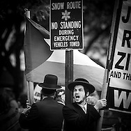 New York. . Pro Palestine Orthodox jews . Demonstration during  the parade, Celebrate israei, on fifth avenue.