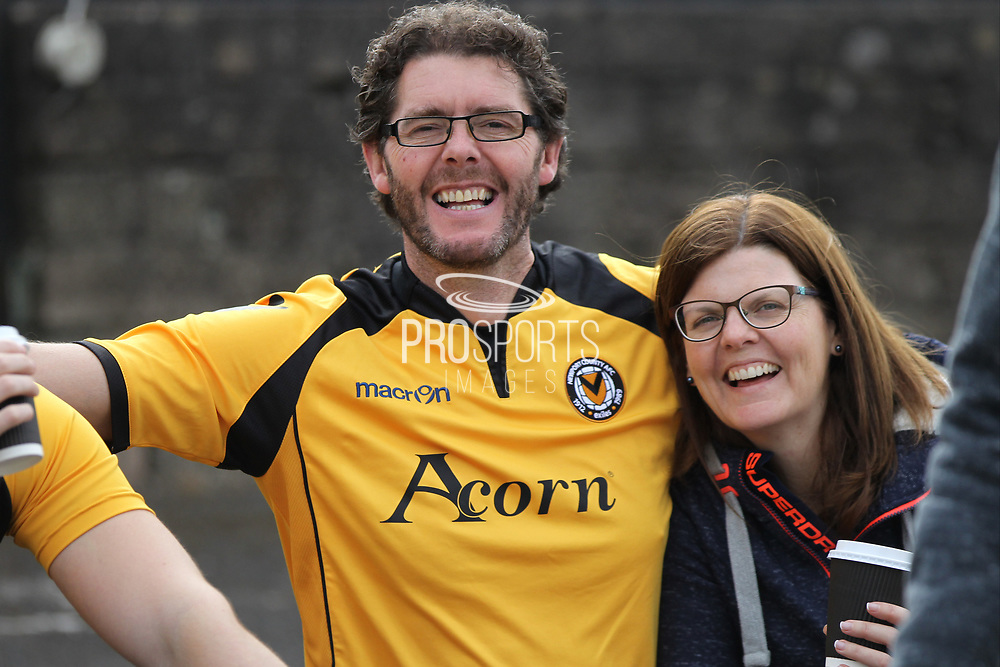 Newport County supporters pre-match during the EFL Sky Bet League 2 match between Newport County and Notts County at Rodney Parade, Newport, Wales on 6 May 2017. Photo by Daniel Youngs.