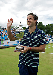 LIVERPOOL, ENGLAND - Saturday, June 18, 2011: Fernando Gonzalez (CHI) with the Boodles Trophy after winning the Liverpool International Tennis Tournament beating Federico Gil (POR) 6-1, 7-6 at Calderstones Park. (Pic by David Rawcliffe/Propaganda)