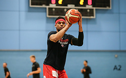Justin Gray of Bristol Flyers warms up - Photo mandatory by-line: Arron Gent/JMP - 28/04/2019 - BASKETBALL - Surrey Sports Park - Guildford, England - Surrey Scorchers v Bristol Flyers - British Basketball League Championship