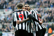 Kenedy (#15) of Newcastle United scores Newcastle United's second goal (2-0) and celebrates with DeAndre Yedlin (#22) of Newcastle United and Dwight Gayle (#9) of Newcastle United during the Premier League match between Newcastle United and Southampton at St. James's Park, Newcastle, England on 10 March 2018. Picture by Craig Doyle.