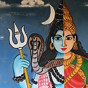 Hindu Kovil on the East Coast, North of Pottuvil. Location uncertain.<br /> Hindu Gods painted on the walls. <br /> August 2017