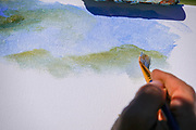 seascape artist painting on canvas Close up