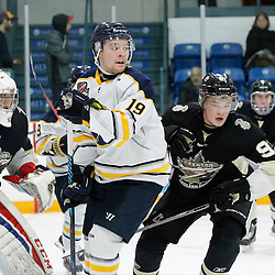 TRENTON, ON - NOV 10:  Michael Faliero #19 of the Buffalo Jr. Sabres and Mac Lewis #91 of the Trenton Golden Hawks battle for position during the OJHL regular season game between the  Buffalo Jr Sabres and Trenton Golden Hawks on November 10, 2016 in Trenton, Ontario. (Photo by Amy Deroche/OJHL Images)