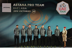 February 23, 2019 - Abu Dhabi, United Arab Emirates - Astana Pro Team from Kazakhstan, during the Team Presentation, at the opening ceremony of the 1st UAE Tour, inside Louvre Abu Dhabi museum..On Saturday, February 23, 2019, Abu Dhabi, United Arab Emirates. (Credit Image: © Artur Widak/NurPhoto via ZUMA Press)