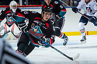 KELOWNA, CANADA - SEPTEMBER 5: Liam Kindree #26 of the Kelowna Rockets skates against the Kamloops Blazers on September 5, 2017 at Prospera Place in Kelowna, British Columbia, Canada.  (Photo by Marissa Baecker/Shoot the Breeze)  *** Local Caption ***