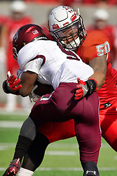 NORMAL, IL - October 13: Ty Deforest discontinues the advance of Saluki ball carrier D.J. Davis during a college football game between the ISU (Illinois State University) Redbirds and the Southern Illinois Salukis on October 13 2018 at Hancock Stadium in Normal, IL. (Photo by Alan Look)