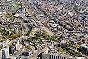 Nederland, Zuid-Holland, Leiden, 09-04-2014; noordelijke binnenstad, Valkbrug en Molen De Valk. Links Rijnsburgersingel en Maresingel, midden Oude Vest en Oude Singel.<br /> View on the old town of Leiden with old mill and canals.<br /> luchtfoto (toeslag op standard tarieven);<br /> aerial photo (additional fee required);<br /> copyright foto/photo Siebe Swart.
