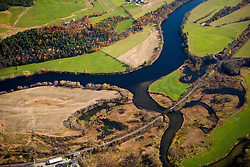 The Connecticut River as it flows between Bradford, Vermont and Piermont, New Hampshrie. Waits River. Aerial.