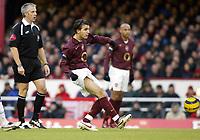 Photo: Chris Ratcliffe.<br />Arsenal v Blackburn Rovers. The Barclays Premiership.<br />26/11/2005.<br />Cesc Fabregas (C) scores the first goal