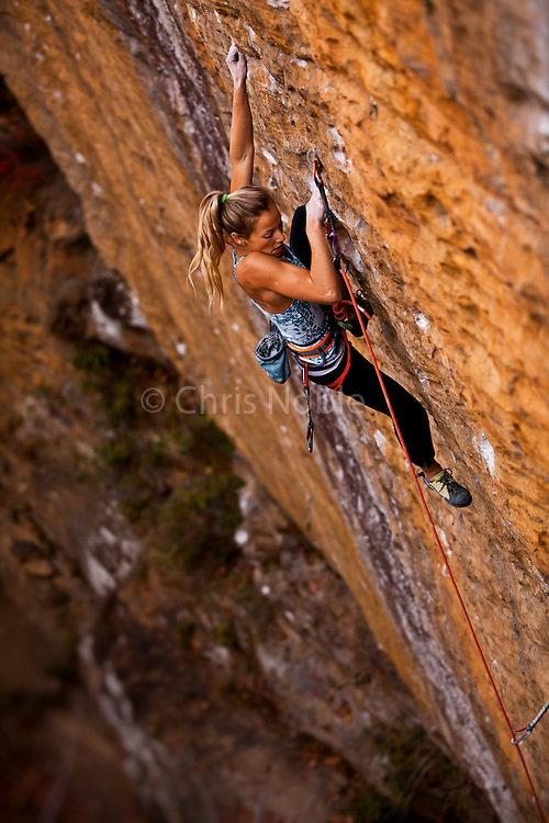 "Sasha DiGiulian climbing ""Golden Boy"" 13b at ""The Gold Coast,"" Pendergrass Murray Recreational Preserve, Red River Gorge, Kentucky, USA."