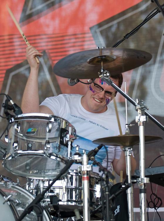 Walk the Moon drummer Sean Waugaman performs during the KROQ Weenie Roast y Fiesta Saturday in Irvine.