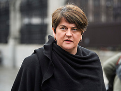 © Licensed to London News Pictures. 12/12/2018. London, UK. Leader of the DUP ARLENE FOSTER is seen in Westminster as Prime Minister Theresa May faces a vote of no confidence from her own party. Photo credit: Ben Cawthra/LNP