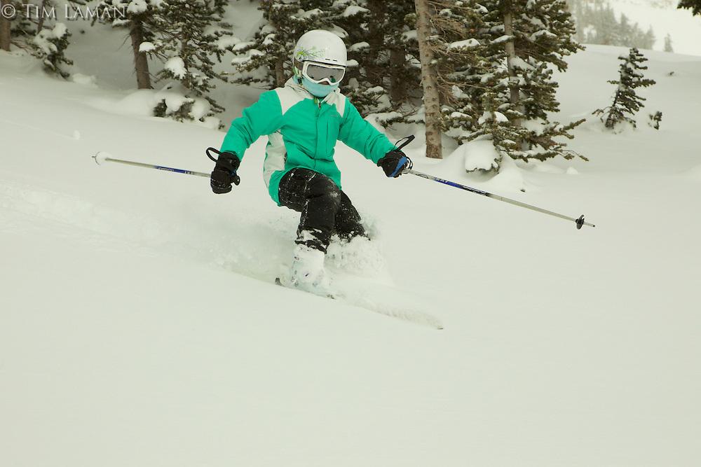 Jessica Laman (age 9) powder skiing at Jackson Hole, Wyoming