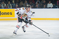 KELOWNA, CANADA - NOVEMBER 21: Blake Heinrich #16 of Portland Winterhawks skates with the puck against the Kelowna Rockets on November 21, 2014 at Prospera Place in Kelowna, British Columbia, Canada.  (Photo by Marissa Baecker/Shoot the Breeze)  *** Local Caption *** Blake Heinrich;