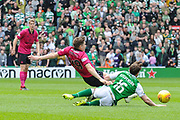 James Forrest and Lewis Stevenson collide during the Ladbrokes Scottish Premiership match between Hibernian and Celtic at Easter Road, Edinburgh, Scotland on 21 April 2018. Picture by Kevin Murray.