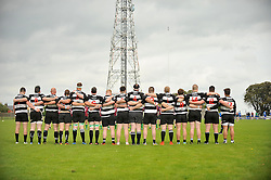 A minute's silence from Ballinrobe and Corrib's Junior Rugby teams at the start of their Junior league match on sunday last.<br /> Pic Conor McKeown