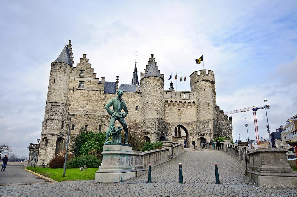 Het Steen (the Stone) Castle in Antwerp, Belgium is now the museum of shipping.