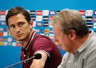 Frank Lampard of England (L) and England manager Roy Hodgson (R) during the England press conference the day before their final Group D match against Costa Rica at Mineirao, Belo Horizonte, Brazil. <br /> Picture by Andrew Tobin/Focus Images Ltd +44 7710 761829<br /> 23/06/2014