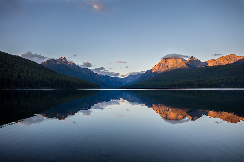 Bowman Lake in Glacier National Park at Sunset.