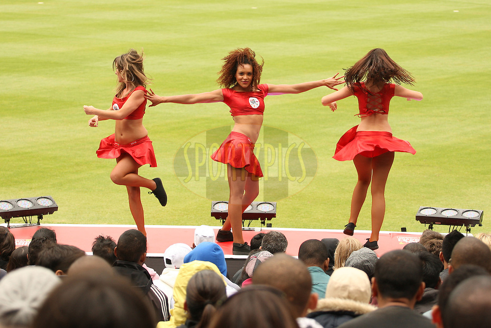 CLT20 cheerleaders during match 15 of the Karbonn Smart CLT20 South Africa between The Perth Scorchers and the Delhi Daredevils held at Newlands Stadium in Cape Town, South Africa on the 21st October 2012. Photo by Jacques Rossouw/SPORTZPICS/CLT20