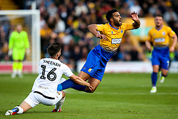 Jacob Mellis of Mansfield Town is fouled by Josh Sheehan of Newport County - Mandatory by-line: Robbie Stephenson/JMP - 12/05/2019 - FOOTBALL - One Call Stadium - Mansfield, England - Mansfield Town v Newport County - Sky Bet League Two Play-Off Semi-Final 2nd Leg