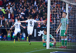 February 28, 2019 - Valencia, U.S. - VALENCIA, SPAIN - FEBRUARY 28: Kevin Gameiro, forward of Valencia CF celebrates his goal during the Copa del Rey match between Valencia CF and Real Betis Balompie at Mestalla stadium on February 28, 2019 in Valencia, Spain. (Photo by Carlos Sanchez Martinez/Icon Sportswire) (Credit Image: © Carlos Sanchez Martinez/Icon SMI via ZUMA Press)