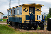 A Northern Alberta Railways car has been converted to a restroom at Hythe Campground, in Hythe, Highway 43, County of Grande Prairie, Alberta, Canada.
