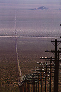 Barstow, California telephone and power lines across the desert.
