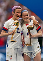 07-07-2019 FRA: Final USA - Netherlands, Lyon<br /> FIFA Women's World Cup France final match between United States of America and Netherlands at Parc Olympique Lyonnais. USA won 2-0 / Megan Rapinoe #15 of the United States, Rose Lavelle #16 of the United States