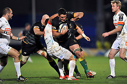 Calum Clark of Northampton Saints takes on the Treviso defence - Photo mandatory by-line: Patrick Khachfe/JMP - Mobile: 07966 386802 13/12/2014 - SPORT - RUGBY UNION - Northampton - Franklin's Gardens - Northampton Saints v Treviso - European Rugby Champions Cup