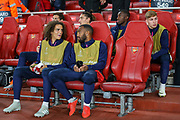 Arsenal midfielder Matteo Guendouzi (29) chats with teammate, forward Alexandre Lacazette (9) before the Europa League group stage match between Arsenal and FC Voskla Potlava at the Emirates Stadium, London, England on 20 September 2018.