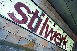 Sign outside Stilwerk upmarket interior design shopping mall in Berlin Germany