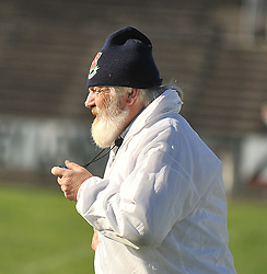 Brendan 'Swanie' O'Hora Umpire from Ballina Stephenites keeping a close eye on prceedings during the County Junior B Repaly between Swinford and Westport.<br /> Pic Conor McKeown
