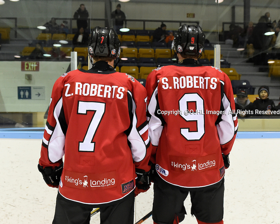 MARKHAM, - Feb 26, 2016 -  Ontario Junior Hockey League game action between Stouffville and Markham at the Markham Centennial Community Centre, ON. Zachary Roberts #7 and Spencer Roberts #9 of the Stouffville Spirit  after pregame warmup. <br /> (Photo by Andy Corneau / OJHL Images)