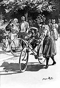Cycling: Lady in 'Rational' cycling dress of knickerbockers and gaiters, giving small daughter a ride on the saddle. French illustration c1890.