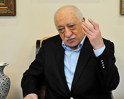 Exiled Turkish cleric and muslim imam Fethullah Gulen answers questions from members of the media during a rare interview at his Pocono Mountain compound Sunday, July 17, 2016 in Saylorsburg, Pa.