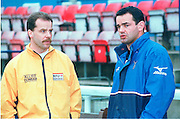 Twickenham, GREAT BRITAIN. Will Carling, [right] chats with the match referee. Chris Rees prior to the  Zurich Premiership Match, London Irish vs Harlequins played at the Stoop, England. [Mandatory Credit: Peter Spurrier: Intersport Images]