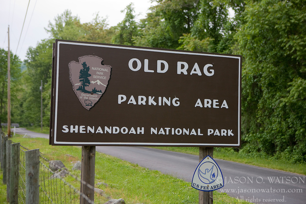 National Park Service welcome sign for the Old Rag parking area / entrance to Shenandoah National Park, Old Rag Mountain, Shenandoah National Park, Madison County, Virginia, May 2008