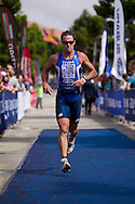 Grant Gilbert (AUS). Subaru Olympic Distance Triathlon. 2012 Geelong Multi Sport Festival. Eastern Beach, Geelong, Victoria, Australia. 12/02/2012. Photo By Lucas Wroe