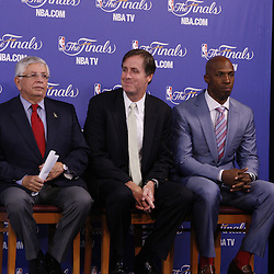 Jun 9, 2013; Miami, FL, USA; Chauncey Billups (right), winner of the inaugural Twyman-Stokes Teammate of the Year Award trophy honoring best teammate in the NBA sits with NBA commissioner David Stern (left) and Jay Twyman (center) during a press conference prior to game two of the 2013 NBA Finals at American Airlines Arena. Mandatory Credit: Derick E. Hingle-USA TODAY Sports