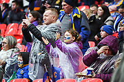 Shrewsbury Town supporters ahead of the EFL Trophy Final match between Lincoln City and Shrewsbury Town at Wembley Stadium, London, England on 8 April 2018. Picture by Stephen Wright.