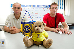 Coach Darko Birjukov and Player Ivan Knezovic at press conference of NK Domzale before new First league season 2010/2011, on July 15, 2010 in Domzale, Slovenia. (Photo by Vid Ponikvar / Sportida)