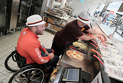 Sainsbury's Store with Paralympic archer Nathan MacQueen, Livingston, Scotland, Thursday 26th September 2019<br /> <br /> Athlete Biography: Nathan MacQueen              <br /> <br /> AGE: 28 YEARS<br /> <br /> CURRENT CLUB: BALBARDIE ARCHERS<br /> <br /> MacQueen was involved in a near-fatal motorcycle accident aged 17 and was left paralysed. Before the crash, he had played rugby for Scotland at under-21 level and was part of the Scottish archery team. He has competed at the Summer Paralympics.<br /> <br /> Alex Todd | Sportpix
